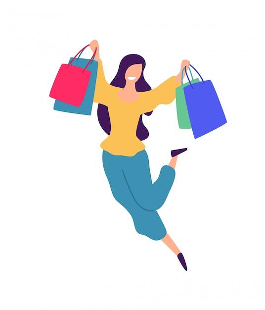 Illustration D'une Fille Faisant Du Shopping. Vecteur Premium
