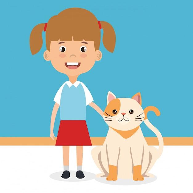 Illustration D'une Fille Avec Un Personnage De Chat Vecteur gratuit