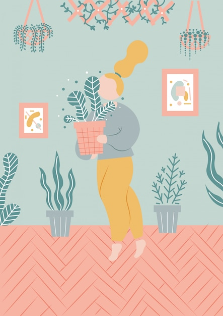 Illustration de fille avec des plantes Vecteur Premium