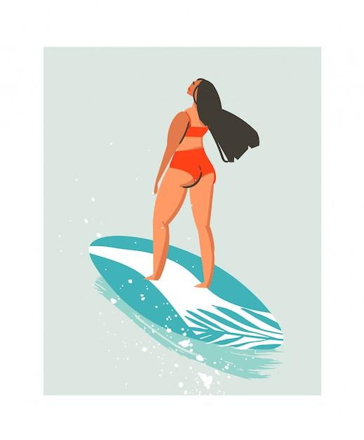 Illustration De Fille De Surfeur De Plage Abstrait Mignon été Dessiné à La Main Avec Des Maillots De Bain Rouges Et Planche De Surf Isolé Sur Fond Bleu Vecteur Premium