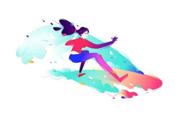 Illustration d'une fille de surfeur. Vecteur Premium