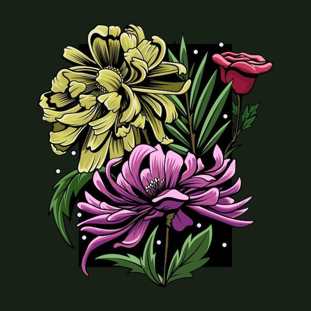 Illustration De Fleur Colorée Abstraite Vecteur Premium