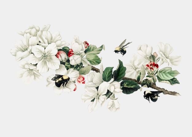 Illustration de fleur de pommier sur une carte de noël Vecteur gratuit