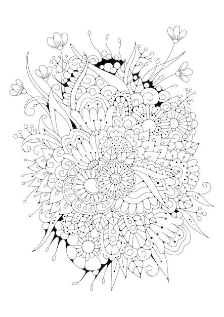 Illustration Florale à Colorier. Fond Noir-blanc. Vecteur Premium