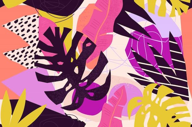 Illustration florale contemporaine Vecteur Premium