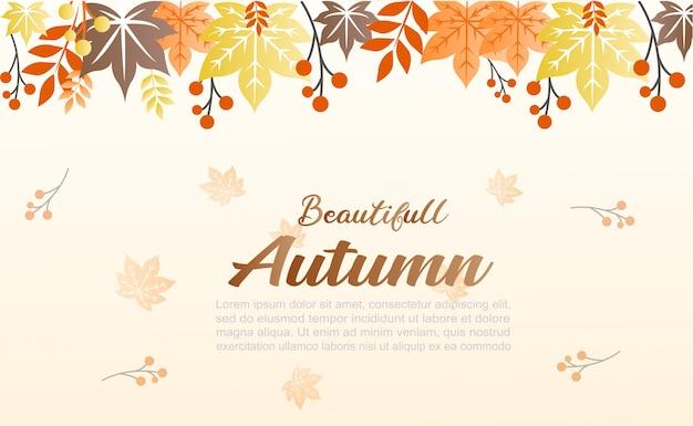 Illustration de fond d'automne il peut être utilisé comme bannière et pour les médias sociaux Vecteur Premium