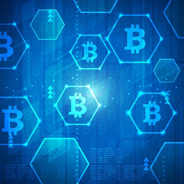 Illustration De Fond De Bannière Bitcoin Technologie Moderne Vecteur Premium