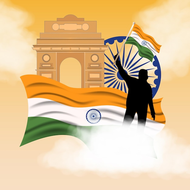 Illustration De Fond De Jour De La République Indienne Vecteur Premium