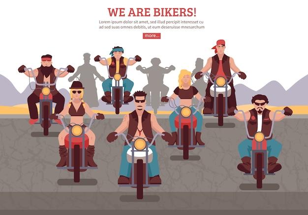 Illustration de fond de motards Vecteur gratuit