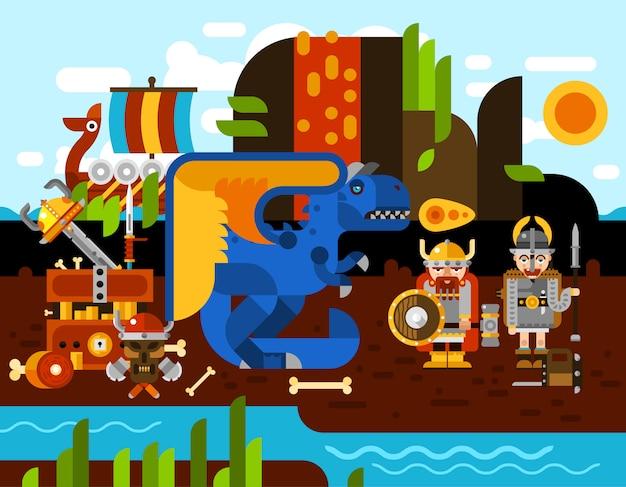 Illustration de fond viking Vecteur gratuit
