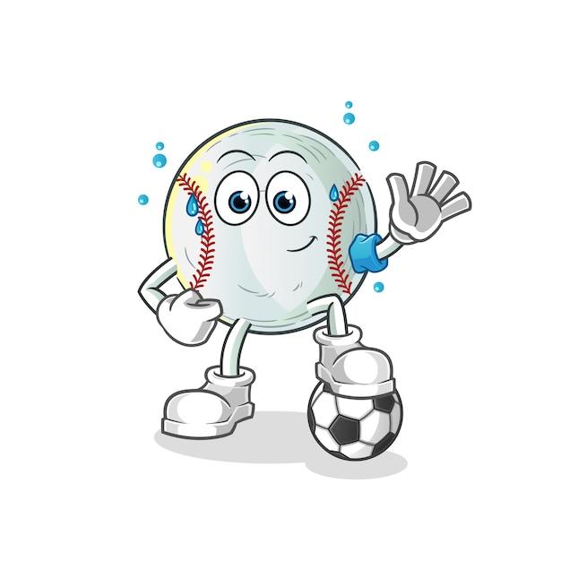 Illustration De Football Jouant Au Baseball Vecteur Premium