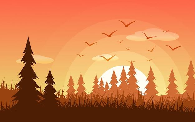 Illustration De La Forêt Au Coucher Du Soleil Avec Des Oiseaux En Vol Vecteur Premium