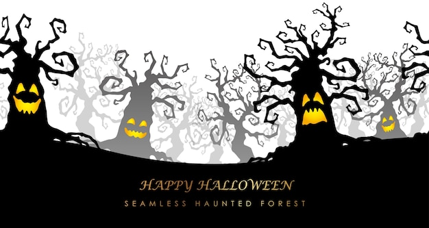 Illustration De La Forêt Hantée Sans Soudure Happy Halloween Vecteur gratuit