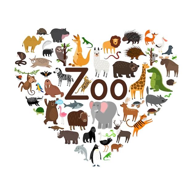 Illustration de forme de coeur de zoo Vecteur Premium