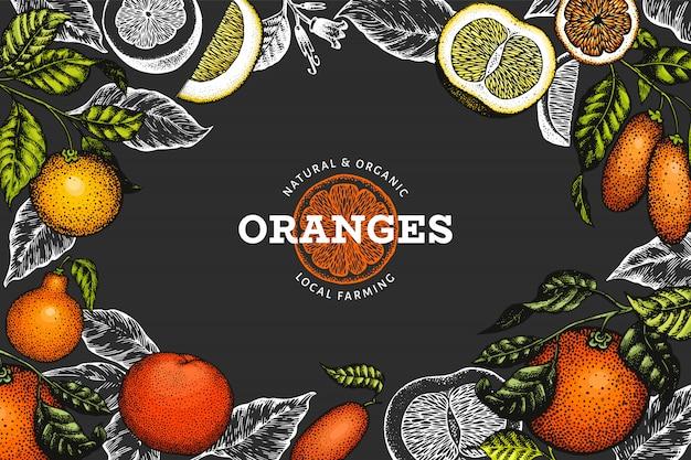 Illustration De Fruits Dessinés à La Main Sur Fond Sombre Vecteur Premium