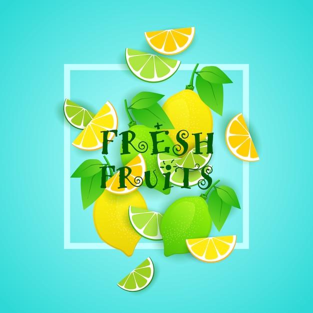Illustration De Fruits Frais Au Citron Et Au Citron Vert Concept D'aliments Biologiques Sains Vecteur Premium