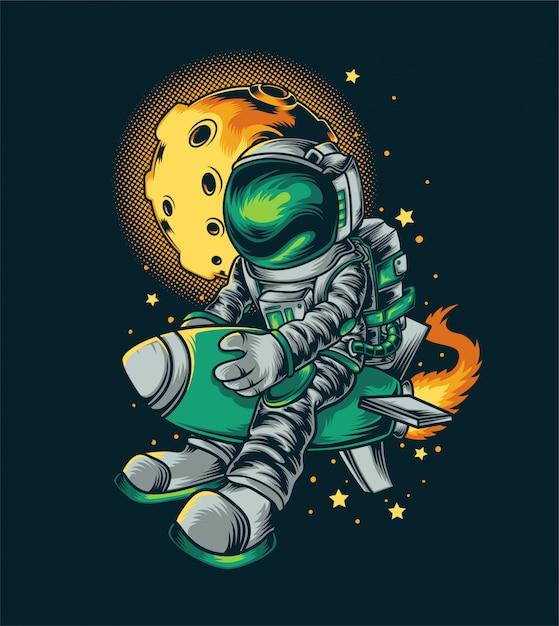Illustration De Fusée Astronout Vecteur Premium