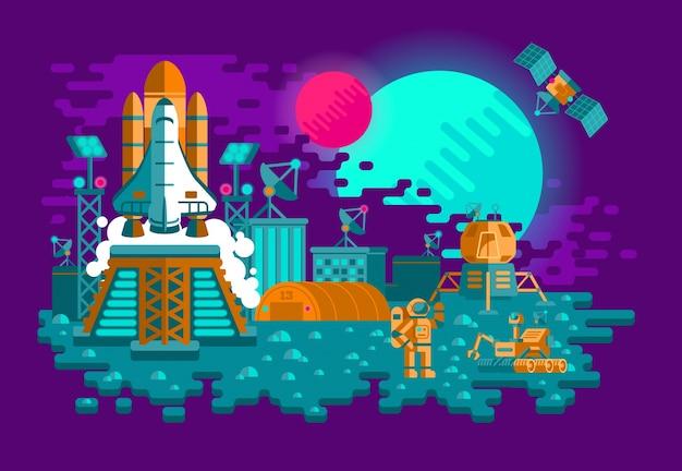 Illustration d'une fusée plate sur une planète inconnue Vecteur gratuit