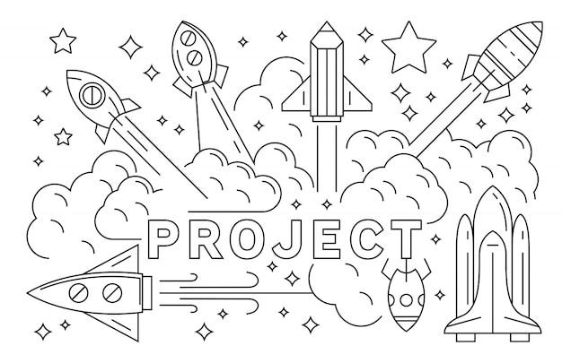 Illustration de fusée et de projet. lancement de la start-up business line art design Vecteur Premium