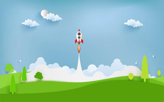 Illustration de la fusée survolant les nuages Vecteur Premium