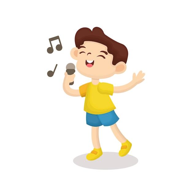 Illustration d'un garçon mignon chantant avec un visage heureux dans un style bande dessinée Vecteur Premium