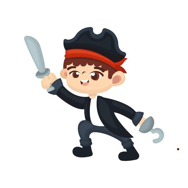 Illustration d'un garçon mignon avec un costume de pirate Vecteur Premium