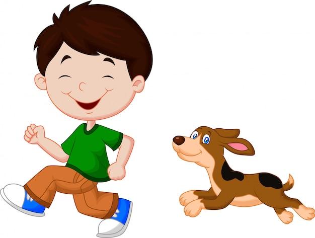 Illustration d'un garçon qui court avec son animal de compagnie Vecteur Premium