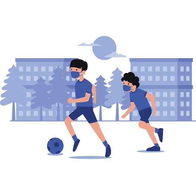 Illustration De Garçons Jouant Au Football Vecteur Premium
