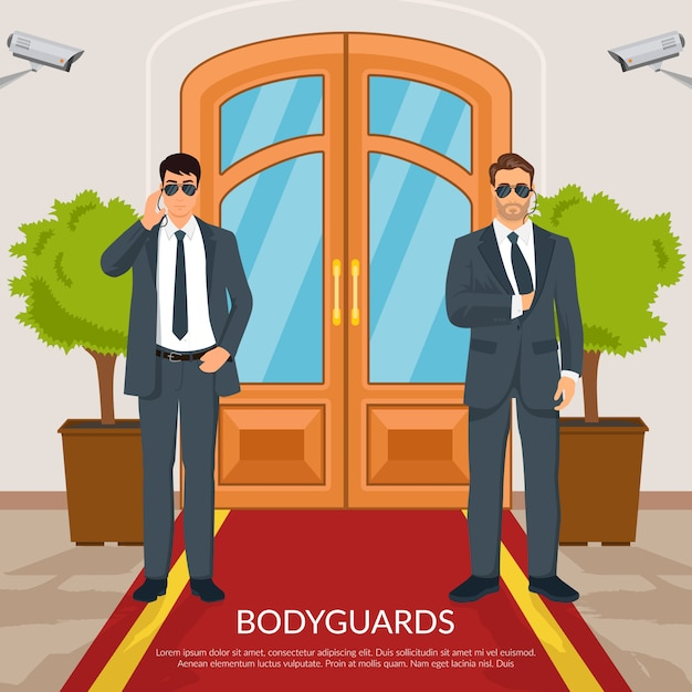 Illustration de garde du corps à la porte Vecteur gratuit