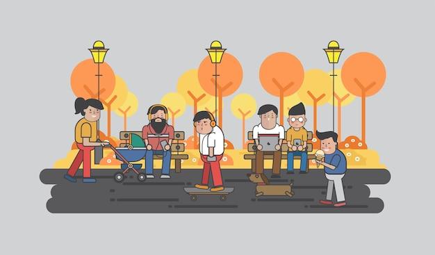 Illustration de gars suspendus dans le parc Vecteur gratuit
