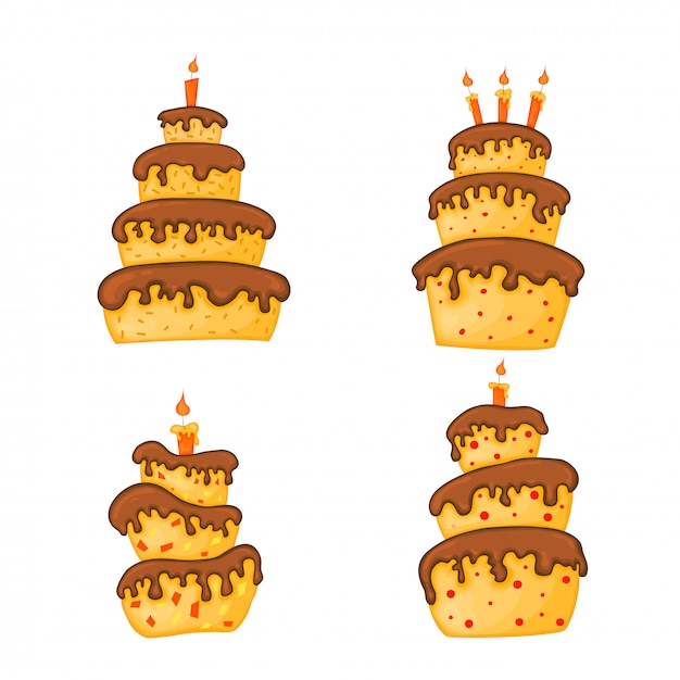 Illustration de gâteau de dessin animé avec une bougie. joyeux anniversaire ensemble. Vecteur Premium
