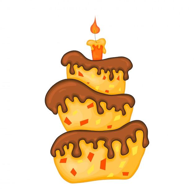 Illustration de gâteau de dessin animé avec une bougie. joyeux anniversaire. Vecteur Premium