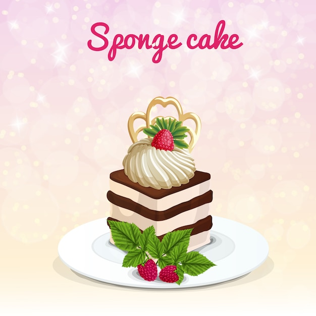 Illustration de gâteau éponge Vecteur gratuit