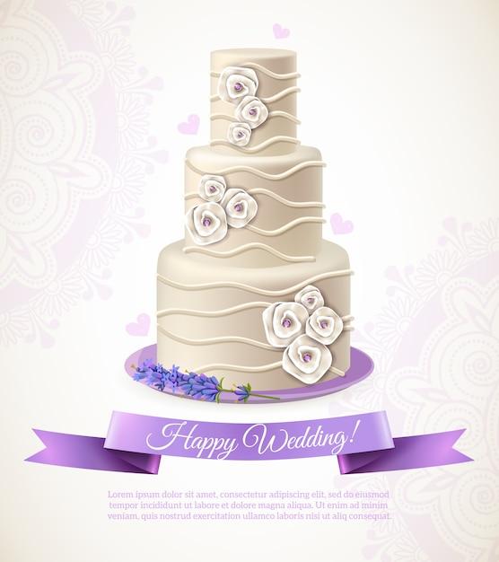 Illustration de gâteau de mariage Vecteur gratuit