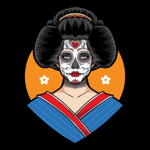 Illustration De Geisha De Crâne De Sucre Vecteur Premium