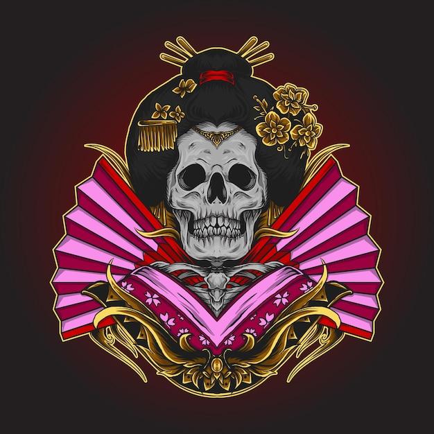 Illustration De Geisha Squelette, Crâne Japonais Vecteur Premium
