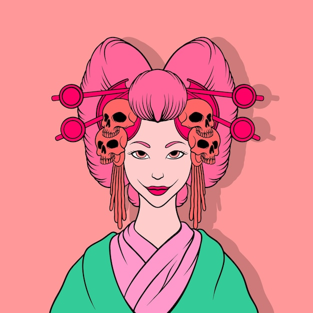 Illustration De Geisha Tueur Vecteur Premium