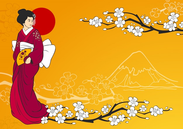 Illustration de la geisha Vecteur gratuit