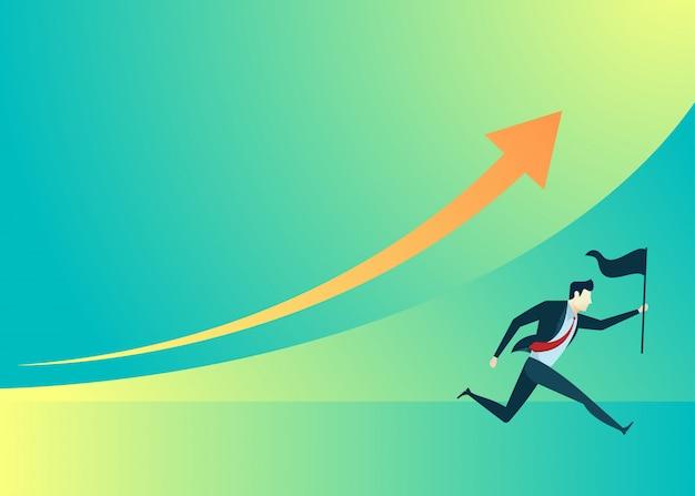 Illustration de gens d'affaires d'homme d'affaires courir tenir le drapeau Vecteur Premium