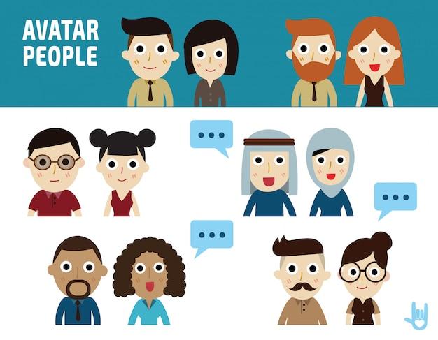 Illustration de gens d'affaires. icônes de design plat de caractère personnage. Vecteur Premium