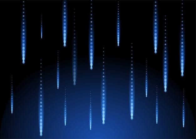Illustration géométrique de l'espace de fond de forme bleu pluie de l'espace noir Vecteur Premium