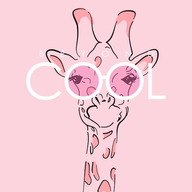 Illustration De Girafe Mignonne Dessinée à La Main Vecteur Premium