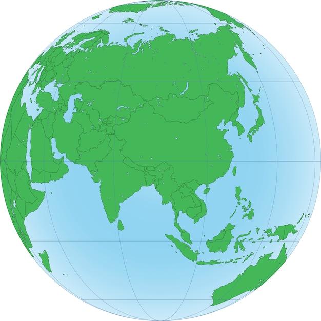 Illustration d'un globe terrestre centré sur l'asie Vecteur Premium