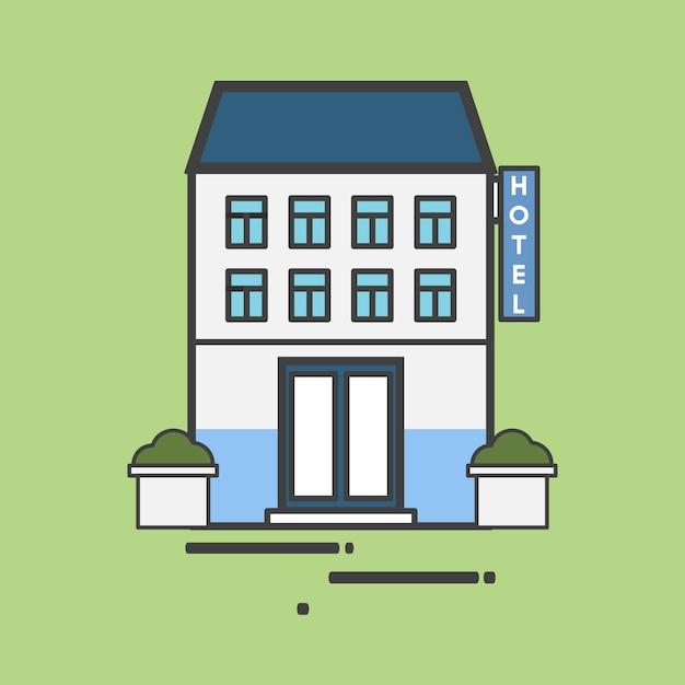 Illustration d'un grand hôtel Vecteur gratuit