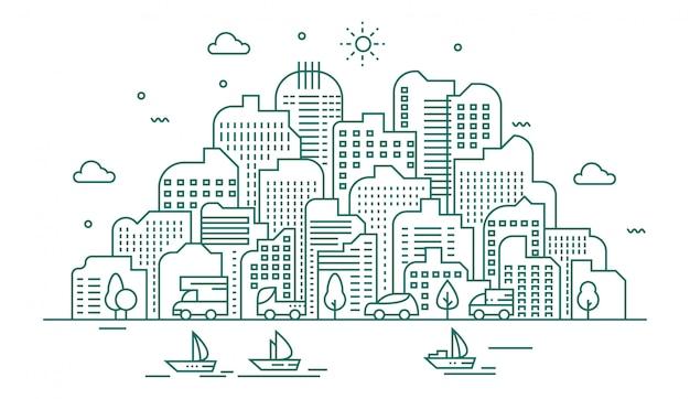Illustration de la grande ville Vecteur Premium