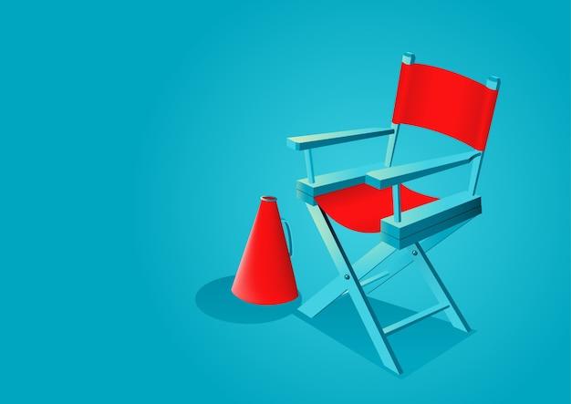 Illustration graphique de la chaise de réalisateur avec mégaphone Vecteur Premium
