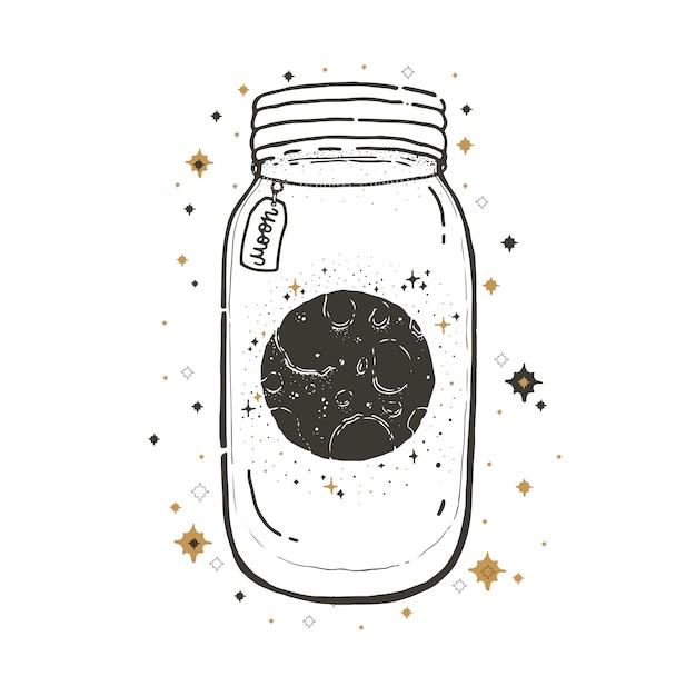 Illustration graphique esquisse avec des symboles mystiques et occultes. mason jar avec la lune. Vecteur Premium