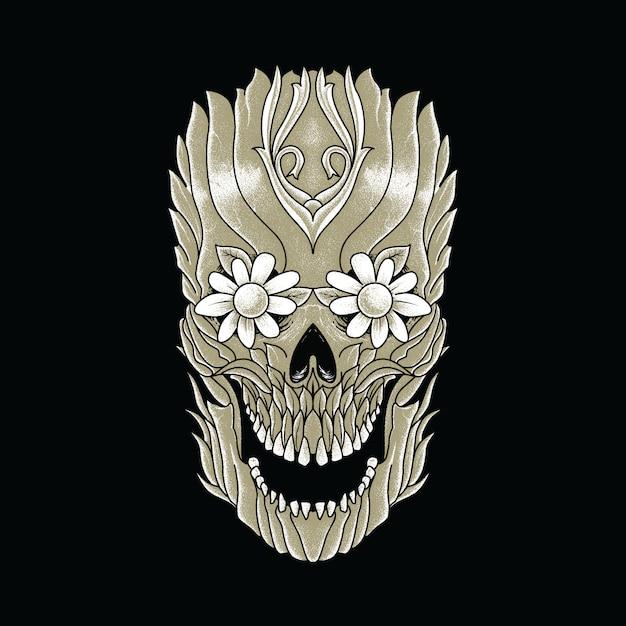 Illustration graphique d'horreur de plante de crâne Vecteur Premium