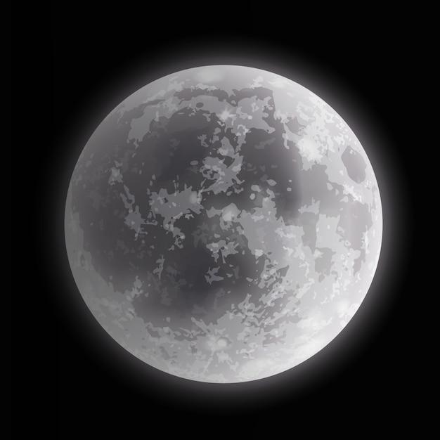 Illustration Gros Plan De La Pleine Lune Sur Fond De Nuit Sombre Vecteur Premium