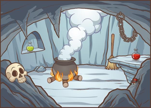 Illustration de la grotte sorcière Vecteur Premium